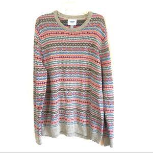 Old Navy fairisle knit multi color stripe sweater